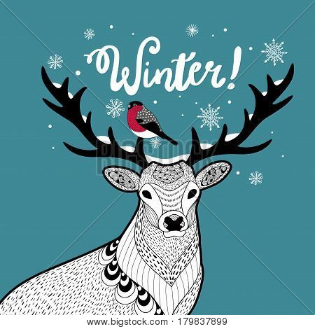 Hand drawn wild deer with bird on the horn. Vector illustration of winter.