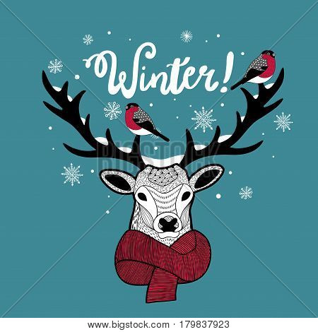 Cartoon deer in scarf with bullfinches on his horn. Vector print for winter holidays.