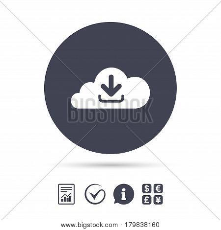 Download from cloud icon. Upload button. Load symbol. Report document, information and check tick icons. Currency exchange. Vector