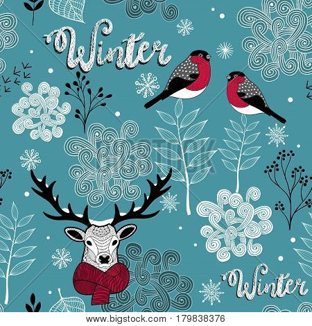 Endless background with deer, birds and winter nature. Vector hand drawn pattern. Repeating wallpaper.