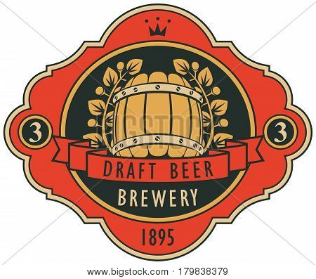 template vector beer label with barrel laurel wreath ribbon and crown in retro style