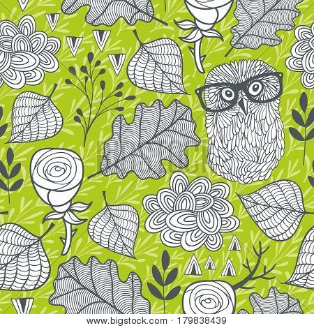 Seamless background with spring forest. Vector artistic pattern.