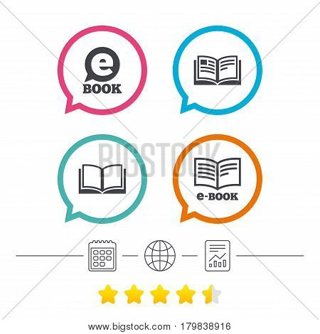 Electronic book icons. E-Book symbols. Speech bubble sign. Calendar, internet globe and report linear icons. Star vote ranking. Vector
