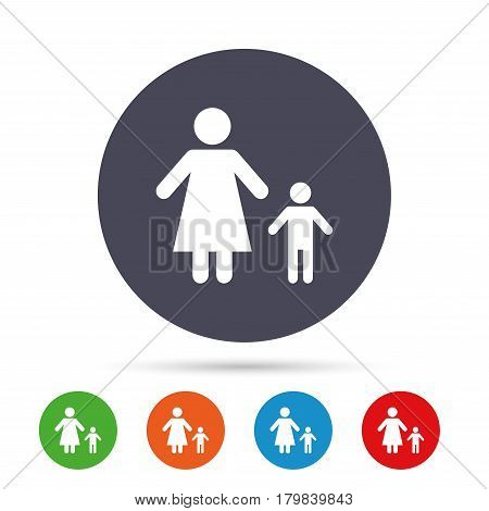 One-parent family with one child sign icon. Mother with son symbol. Round colourful buttons with flat icons. Vector