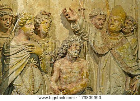 Reims France - july 26 2016 : bas relief of Clovis baptism