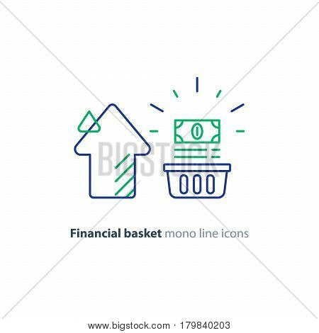 Financial long term investment plan, budget management, fund rising, asset growth, income increase, cash bills bundle, compound interest, vector mono line icons