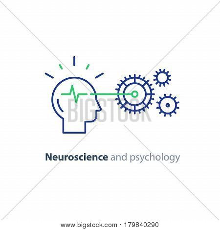Neuroscience concept, psychological processes, brain functioning, artificial intelligence, education system, problem solving, vector mono line icon