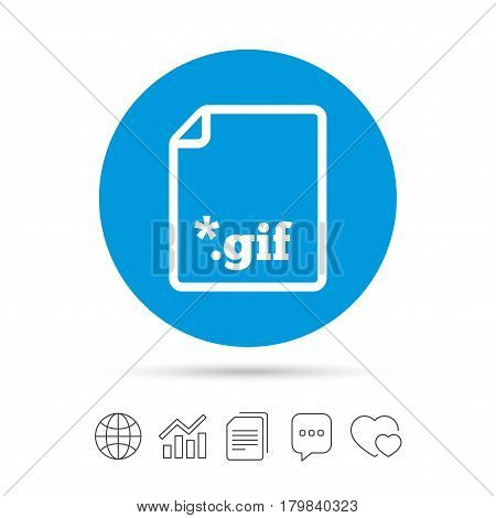 File GIF sign icon. Download image file symbol. Copy files, chat speech bubble and chart web icons. Vector