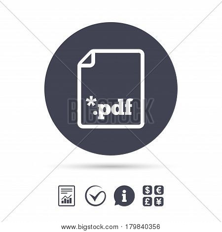 PDF file document icon. Download pdf button. PDF file extension symbol. Report document, information and check tick icons. Currency exchange. Vector