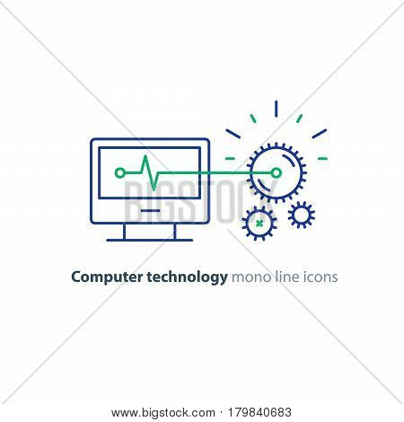 Computer technology, software development, engineering concept, programming and coding services, gear wheel mechanism, vector line icon