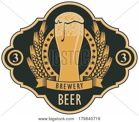 template vector beer label with glass of beer coat of arms ears of wheat and ribbon in retro style