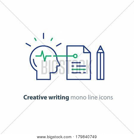 Creative writing and storytelling, copywriting, neuroscience research, brain work study, psychology education concept, vector icon