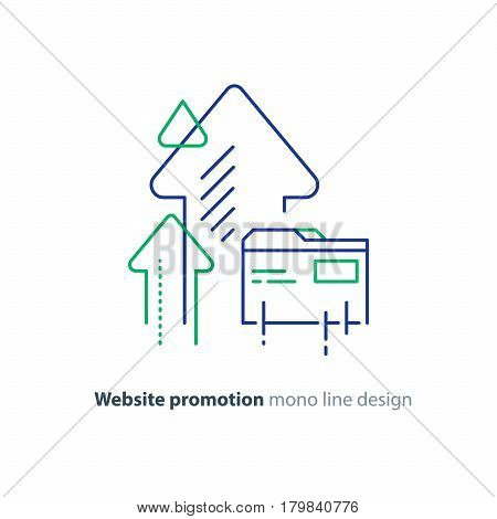 Web site promotion concept, website development, search result optimization, vector line design