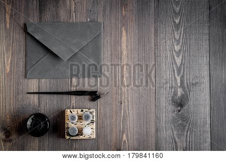 author office in professional writer concept on wooden work desk background top view mock up