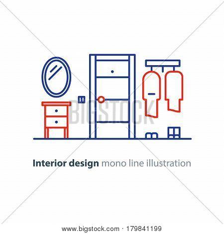 Interior design, entrance hall with door, mirror and hanger, vector mono line illustration