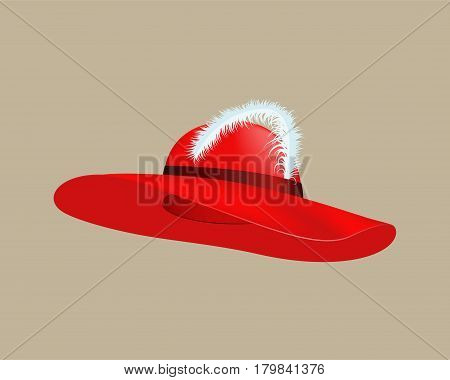 Womans summer red straw hat isolated style clothing wear and cap accessory color object with feather vector illustration. Female elegance modern protection stylish beauty fashionable sign.