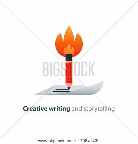 Creative writing, burning pencil, storytelling concept, copy writing idea, vector flat design illustration
