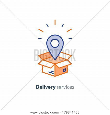 Delivery services, opened box, logistics and transportation, relocation concept, cargo shipment, distribution vector mono line icon