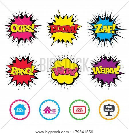 Comic Wow, Oops, Boom and Wham sound effects. For sale icons. Real estate selling signs. Home house symbol. Zap speech bubbles in pop art. Vector