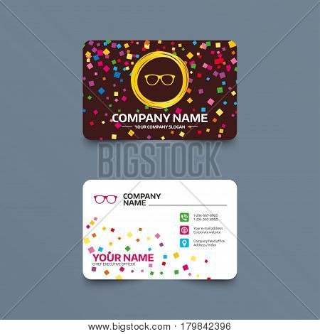 Business card template with confetti pieces. Retro glasses sign icon. Eyeglass frame symbol. Phone, web and location icons. Visiting card  Vector