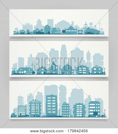 Vector horizontal banners skyline Kit with various parts of cities and small towns or suburbs. Illustration divided on layers for create parallax effect