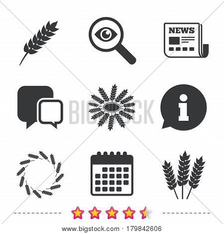 Agricultural icons. Gluten free or No gluten signs. Wreath of Wheat corn symbol. Newspaper, information and calendar icons. Investigate magnifier, chat symbol. Vector