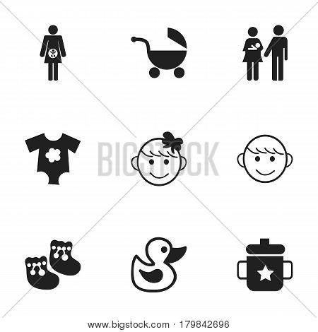 Set Of 9 Editable Kid Icons. Includes Symbols Such As Stroller, Goplet, Merry Children And More. Can Be Used For Web, Mobile, UI And Infographic Design.