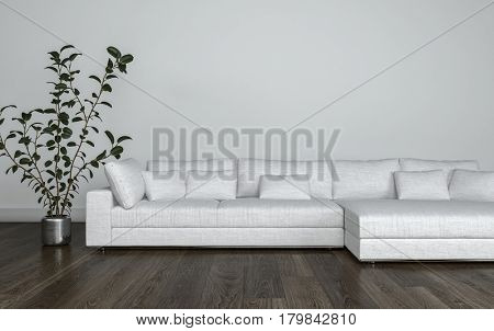 Large multi seat white modular couch with cushions on a wooden parquet floor alongside a potted plant, living room interior. 3d Rendering.