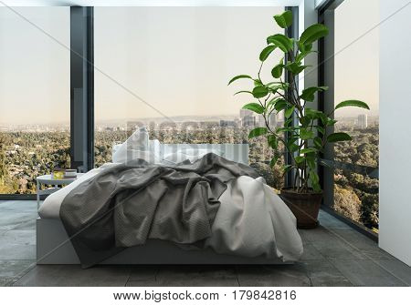 Messy unmade bed in a modern apartment with wrap around view windows overlooking a cityscape, corner view with large houseplant. 3d Rendering