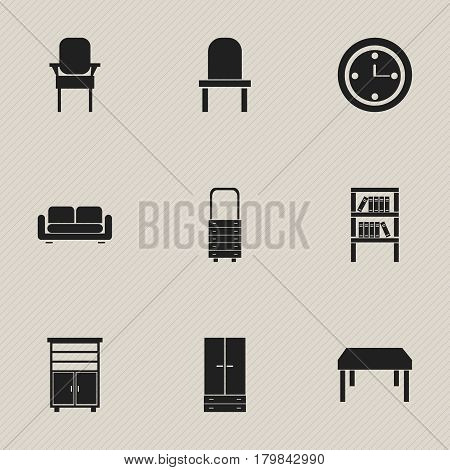 Set Of 9 Editable Furniture Icons. Includes Symbols Such As Locker, Davenport, Lectern And More. Can Be Used For Web, Mobile, UI And Infographic Design.