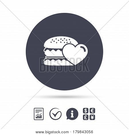 Hamburger icon. Burger food symbol. Cheeseburger sandwich sign. Report document, information and check tick icons. Currency exchange. Vector
