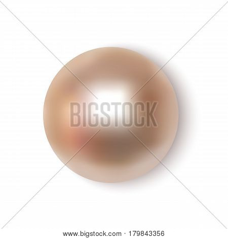 Pearl realistic on white background top view. Spherical beautiful 3D orb with transparent glares and highlights for decoration. Jewelry gemstones. Vector Illustration for your design and business.