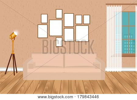Mockup living room interior in hipster style with frames sofa lamp concrete wall and parquet flooring. Loft design concept. Vector illustration.