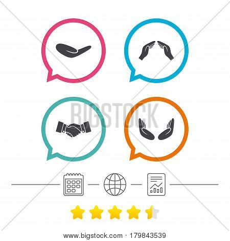 Hand icons. Handshake successful business symbol. Insurance protection sign. Human helping donation hand. Prayer meditation hands. Calendar, internet globe and report linear icons. Star vote ranking