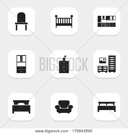 Set Of 9 Editable Home Icons. Includes Symbols Such As Child Cot, Settee, Lectern And More. Can Be Used For Web, Mobile, UI And Infographic Design.