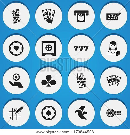 Set Of 16 Editable Excitement Icons. Includes Symbols Such As Fortune, Money, Knight And More. Can Be Used For Web, Mobile, UI And Infographic Design.