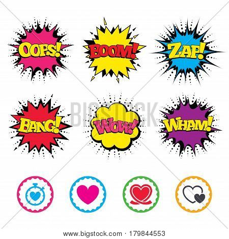 Comic Wow, Oops, Boom and Wham sound effects. Heart ribbon icon. Timer stopwatch symbol. Love and Heartbeat palpitation signs. Zap speech bubbles in pop art. Vector