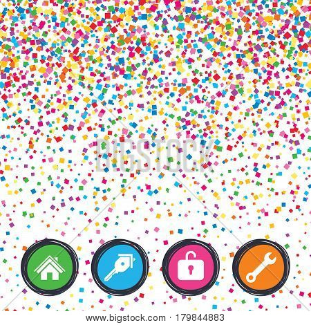 Web buttons on background of confetti. Home key icon. Wrench service tool symbol. Locker sign. Main page web navigation. Bright stylish design. Vector