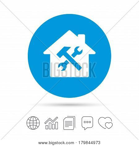 Service house. Repair tool sign icon. Service symbol. Hammer with wrench. Copy files, chat speech bubble and chart web icons. Vector