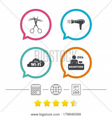 Hotel services icons. Wi-fi, Hairdryer in room signs. Wireless Network. Hairdresser or barbershop symbol. Reception registration table. Calendar, internet globe and report linear icons. Vector