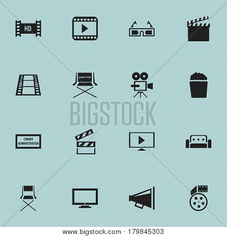 Set Of 16 Editable Cinema Icons. Includes Symbols Such As Loudspeaker, Cinema Snack, Reel And More. Can Be Used For Web, Mobile, UI And Infographic Design.