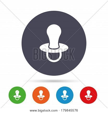Baby's dummy sign icon. Child pacifier symbol. Round colourful buttons with flat icons. Vector