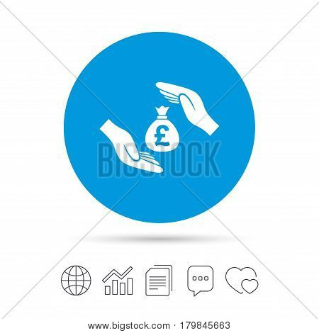 Protection money bag sign icon. Hands protect cash in Pounds symbol. Money or savings insurance. Copy files, chat speech bubble and chart web icons. Vector