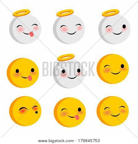 Emotional positive cute faces, angel smiles set. Vector illustration smile icon. Face emoji yellow icon. Smile funny emotion face on transparent background. Happy feelings, expression message, sms.