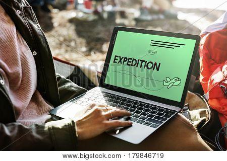 Expedition Excursion Exploration Voyage Plane Symbol
