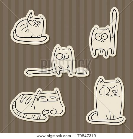 Paper cut hand drawn sketches of funny cats over vintahe brown stripes background.