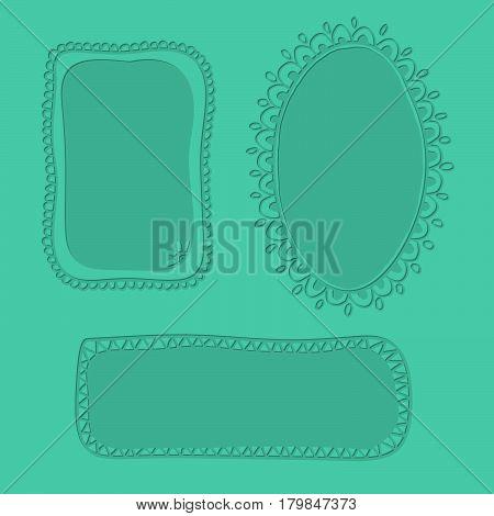 Embossed hand drawn doodle frames over pastel green background.