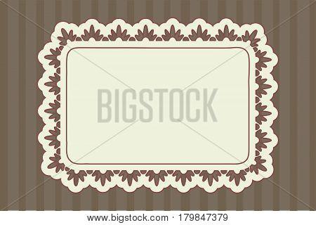 Rectangular ornate frame over vintage brown background.
