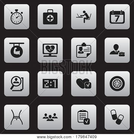 Set Of 16 Editable Complicated Icons. Includes Symbols Such As Tire, Heart Rhythm, Questionnaire And More. Can Be Used For Web, Mobile, UI And Infographic Design.