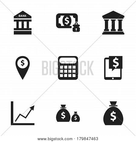 Set Of 9 Editable Financial Icons. Includes Symbols Such As Diagram, Treasure, Holdall And More. Can Be Used For Web, Mobile, UI And Infographic Design.